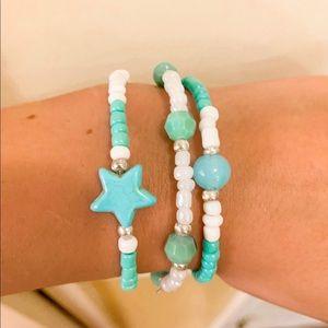 Turquoise beach bracelet trio☀️🌊🌈